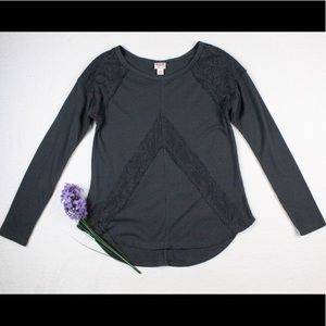 Gray Long Sleeve Lace Scoop Waffle T Shirt